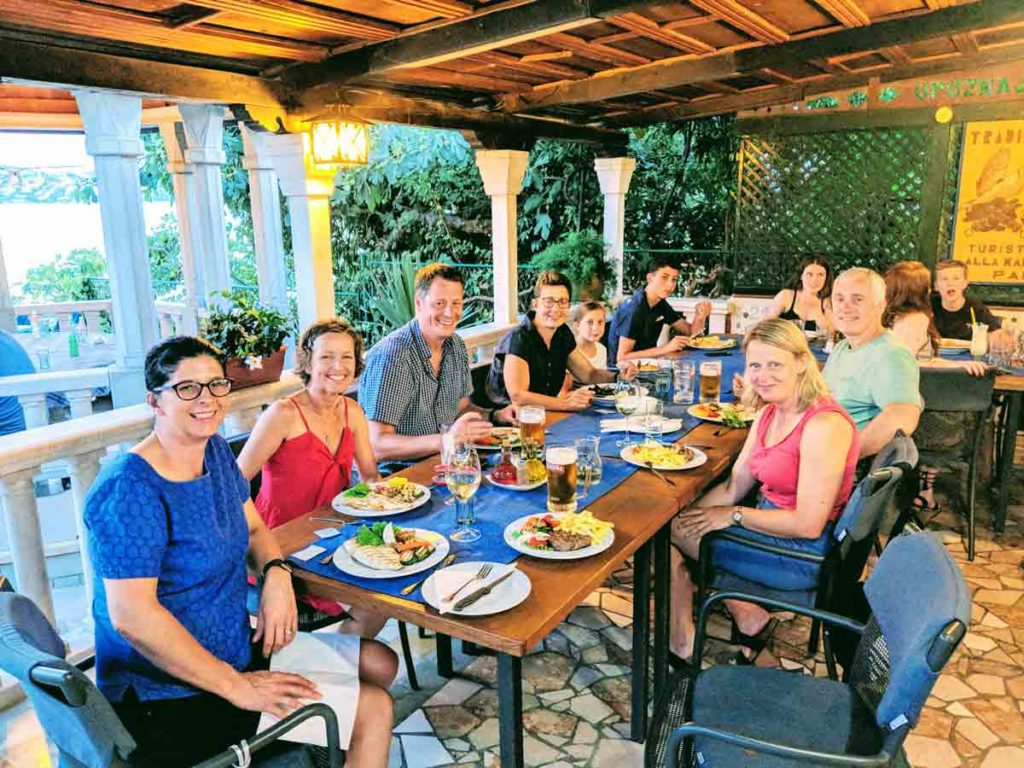 Active family holidays in Croatia eating out